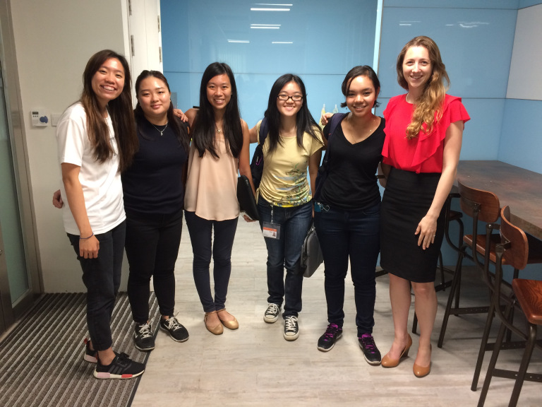 Hunter Doughty and her Singaporean research assistants
